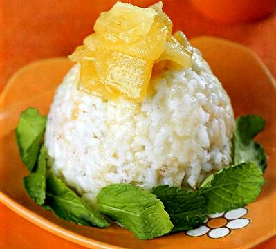 Рисовый десерт с яблоками