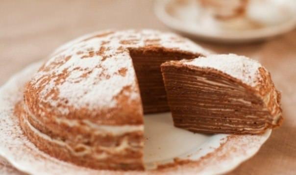 Шоколадный блинный торт фото