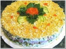 Слоёный салат с авокадо и ветчиной фото