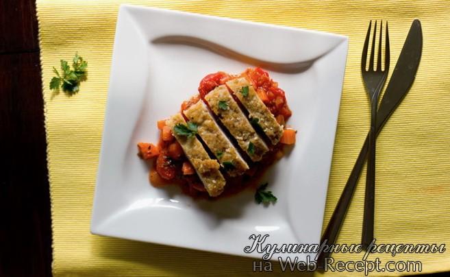 Жаренное куринное филе с овощным рататуем фото
