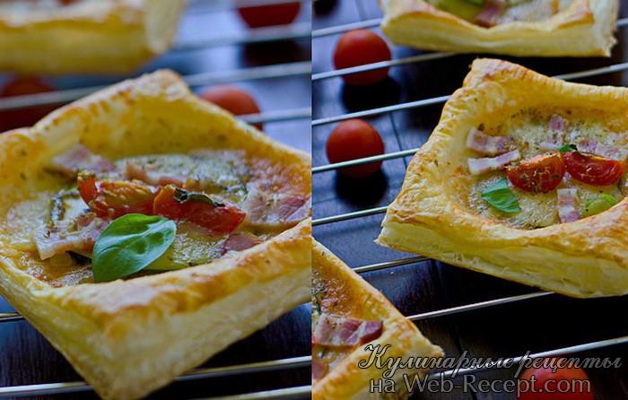 Мини-пиццы из слоеного теста с овощами и беконом фото
