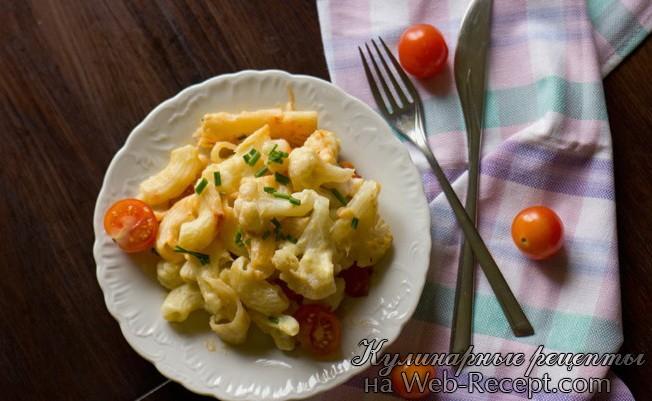 Цветная капуста с помидорами под соусом бешамель фото