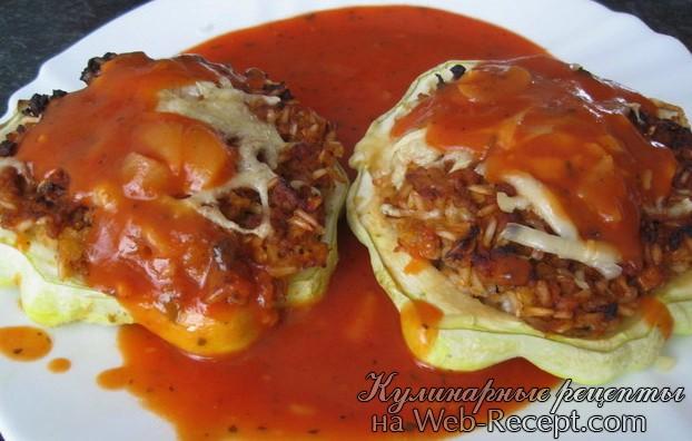 Фаршированные патессоны с томатным соусом фото