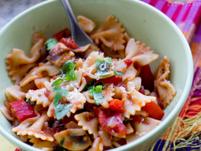 Итальянская паста с томатным соусом и овощами рецепт
