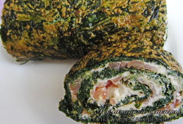 Рулет с лососем и шпинатом фото