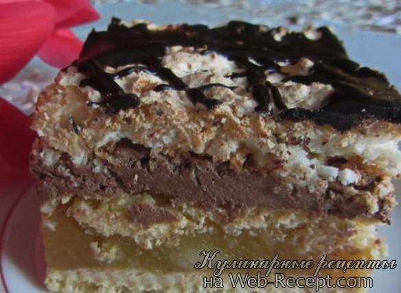 Песочно-кокосовый пирог с яблоками и кремом фото