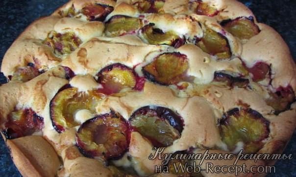 Быстрый пирог со сливами фото