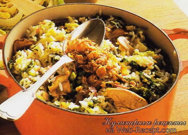 Рис с омлетом и грибами шиитаке фото