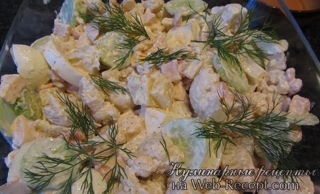 Салат из цветной капусты с креветками фото