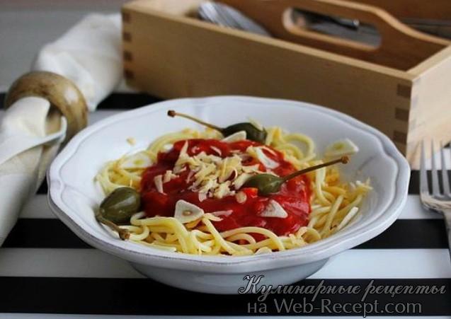Спагетти с грибами и чесноком фото
