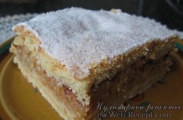 Яблочный пирог без яиц и сахара фото