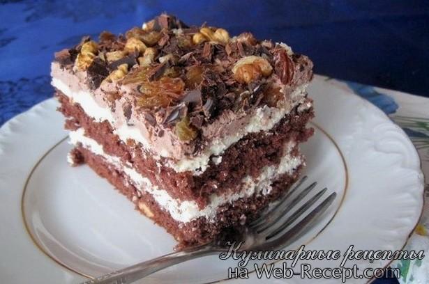 Торт с орехами и изюмом фото