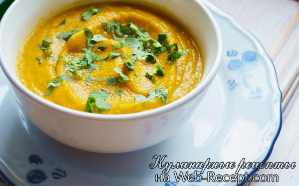 Суп с жареной морковью и кориандром фото