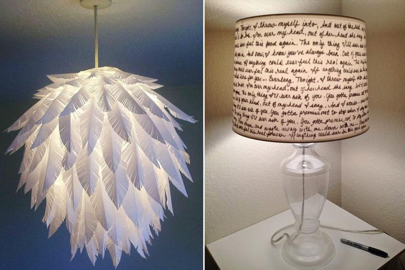 абажур-шар, украшенный бумажными перьями