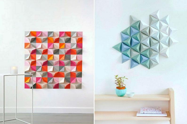 бумажные DIY украшения на стенах