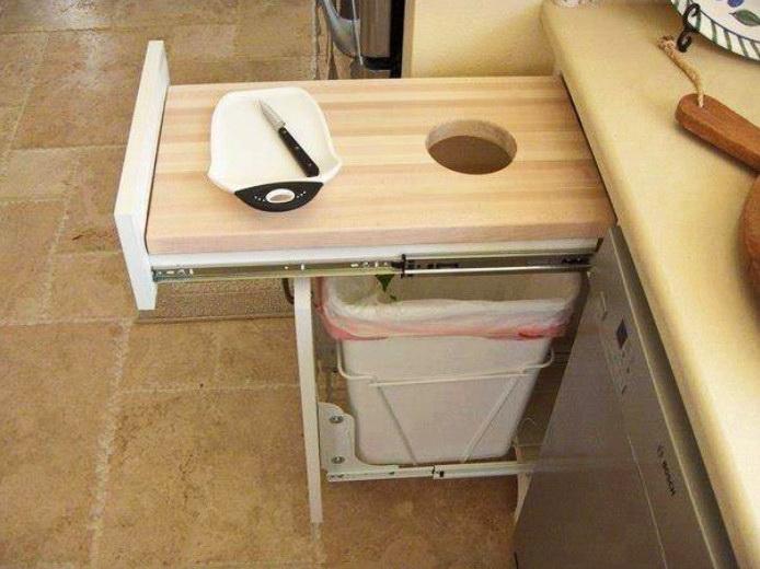 Идеи для кухни, столешница с отверстием для отходов