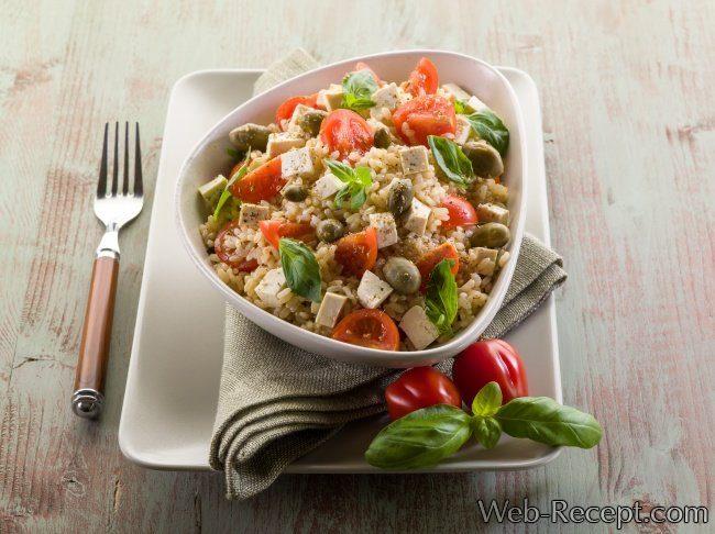 Жареный рис с тофу и овощами фото