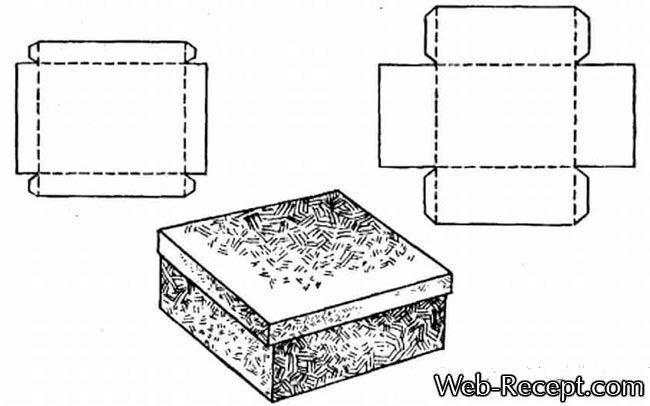Как сделать квадратную подарочную коробку с крышкой (схема-чертеж шаблона)