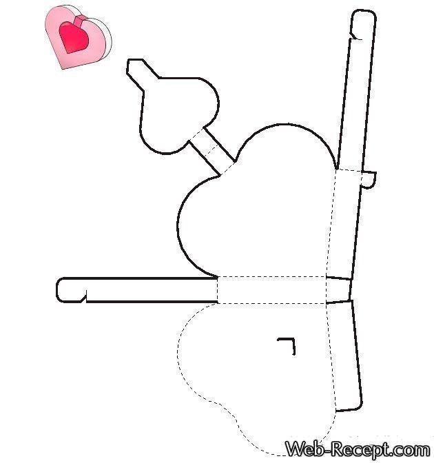 Как сделать подарочную коробку в форме сердца (схема-чертеж шаблона)