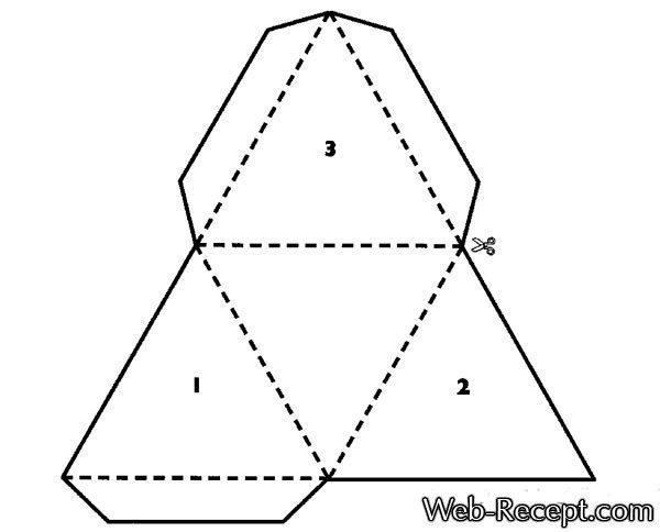 Как сделать треугольную картонную подарочную коробку (схема-чертеж шаблона)